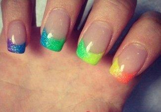 """Дизайн ногтей """"Цветной френч"""" - фото 1"""