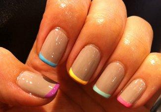 """Дизайн ногтей """"Цветной френч"""" - фото 12"""