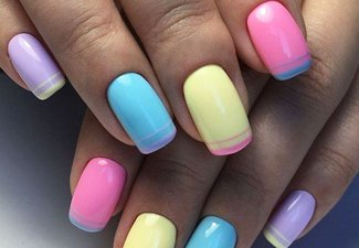 """Дизайн ногтей """"Цветной френч"""" - фото 14"""