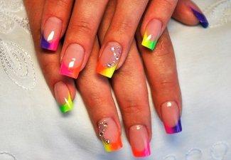 """Дизайн ногтей """"Цветной френч"""" - фото 15"""