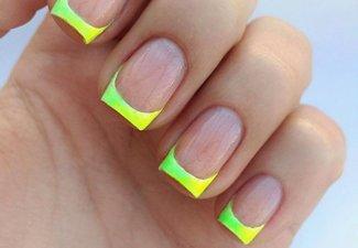 Неоновый френч в дизайне ногтей - фото 12