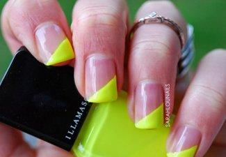 Неоновый френч в дизайне ногтей - фото 4