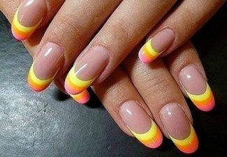 Неоновый френч в дизайне ногтей - фото 7