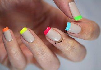 Неоновый френч в дизайне ногтей - фото 8