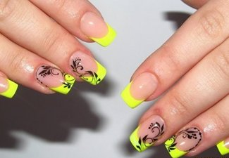 Неоновый френч в дизайне ногтей - фото 9