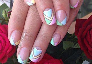 Полосатая геометрия в дизайне ногтей - фото 11