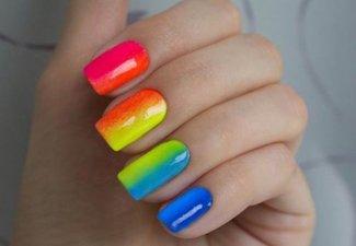 Разноцветный маникюр гель-лаком - фото 20