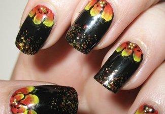 Осенний дизайн длинных ногтей - фото 14