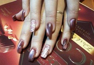 Осенний дизайн длинных ногтей - фото 17