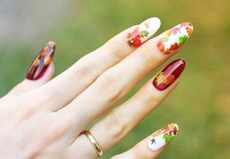 Осенний дизайн длинных ногтей - фото 18