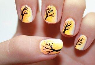 Осенний дизайн длинных ногтей - фото 22