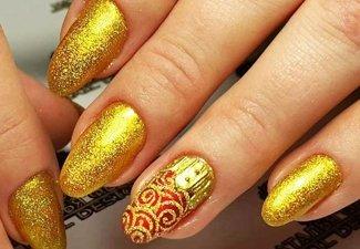 Осенний дизайн длинных ногтей - фото 27