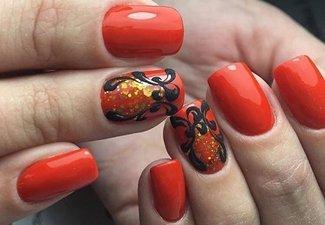 Осенний дизайн длинных ногтей - фото 4