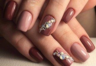 Осенний дизайн коротких ногтей - фото 13