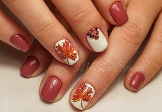 Осенний дизайн коротких ногтей - фото 17