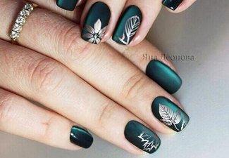 Осенний дизайн коротких ногтей - фото 18