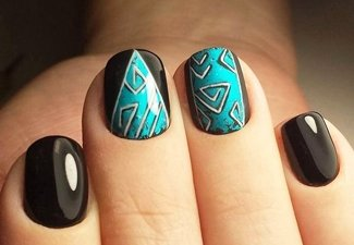 Осенний дизайн коротких ногтей - фото 23