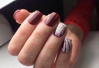 Осенний дизайн коротких ногтей - фото 24