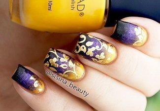 Осенний дизайн коротких ногтей - фото 27
