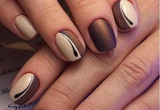 Осенний дизайн коротких ногтей - фото 35