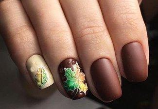 Осенний дизайн коротких ногтей - фото 53