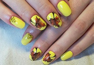 Осенний дизайн коротких ногтей - фото 55