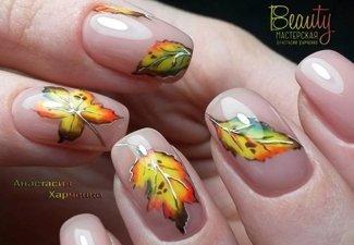 Осенний дизайн коротких ногтей - фото 58
