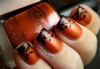 Осенний дизайн коротких ногтей - фото 61