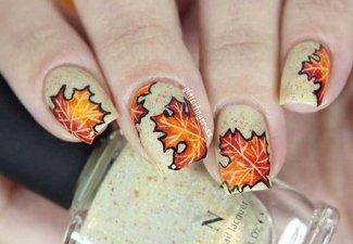 Осенний дизайн коротких ногтей - фото 62
