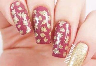 Варианты ногтей с осенними рисунками - фото 13