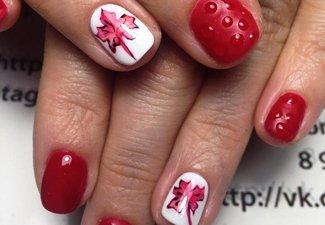 Варианты ногтей с осенними рисунками - фото 14