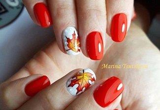 Варианты ногтей с осенними рисунками - фото 15
