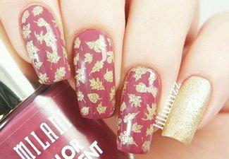 Варианты ногтей с осенними рисунками - фото 16