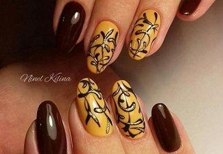 Варианты ногтей с осенними рисунками - фото 17