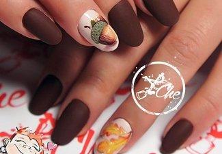 Варианты ногтей с осенними рисунками - фото 19