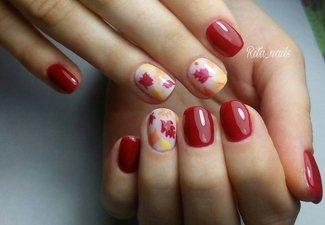 Варианты ногтей с осенними рисунками - фото 20