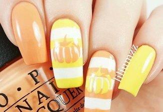 Варианты ногтей с осенними рисунками - фото 23