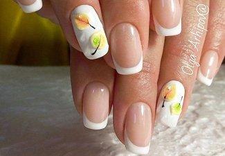 Варианты ногтей с осенними рисунками - фото 24