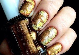 Варианты ногтей с осенними рисунками - фото 3