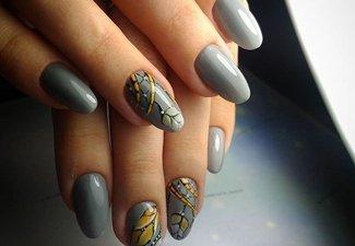 Варианты ногтей с осенними рисунками - фото 30