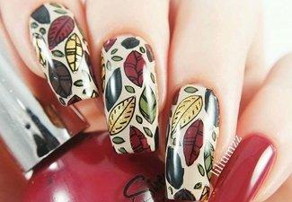 Варианты ногтей с осенними рисунками - фото 4