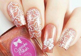 Варианты ногтей с осенними рисунками - фото 8