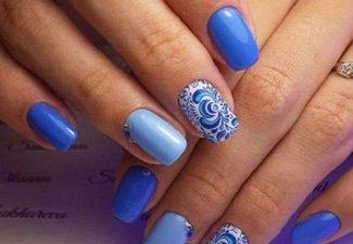 Синий маникюр - фото 107