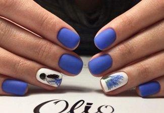 Синий маникюр - фото 108