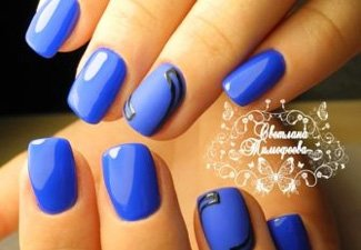 Синий маникюр - фото 112