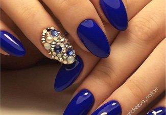 Синий маникюр - фото 114