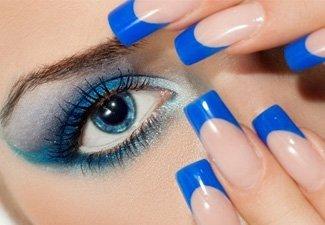 Синий маникюр - фото 119